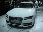 The 2013 Audi S7 Sportsback ditches the old Lamborghini V10 in favor of a new Audi 4.0L V8 with a twin-scroll turbo pumping out 420 hp and 406 lb-ft torque. It's mated to Audi's 7-speed S tronic dual clutch automatic transmission.