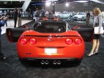 2012 Chevy Corvette ZR1 rear. You can see the expensive carbon fiber parts like the roof panel.
