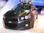 A tricked-out 2012 Chevy Sonic. I wonder how much the matte black paint cost?