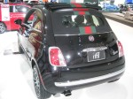 The red and green Gucci stripe incorporated into the canvas top of this 2012 Fiat 500C is quite distinctive.