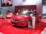 There's little news for the 2012 Honda Accord. This red Coupe looked nice with all the other red in the display. A new Accord should be out by this time next year.