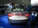 "The sleek rear end of the 2012 Hyundai Azera is a continuation of Hyundai's ""fluidic"" styling language."