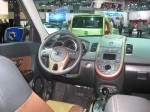 The two-tone leather interior of the 2012 Kia Soul ! has nice contrast and an upscale feel.  It's part of the $2,500 premium package.