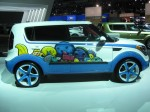 The Kia Soul, inspired by Michelle Wie, by West Coast Customs. Michelle Wie is a professional golf prodigy. She's amazing to watch. But I'm not quite sure why this Kia has the kiddie theme.