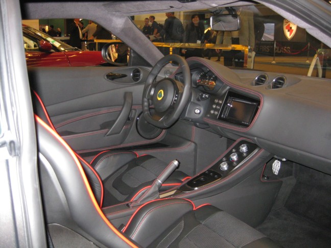 The interior of the 2012 Lotus Evora S feels and looks hand-crafted. I really had to fold myself to get in and out of it.