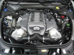 The engine bay of the 2012 Porschs Panamera Turbo S. It's a lovely 4.8L 500 hp twin turbo V8.