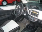 The upgraded interior of this 2012 Toyota Yaris sedan with the two-tone scheme looks richer and more inviting than the base version.