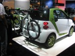 I liked this smart-designed electric folding bicycle. I didn't see any price for it, but it was very cool.