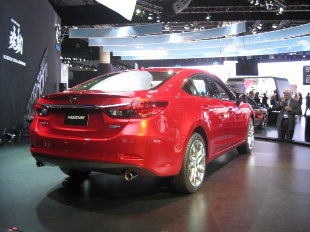 The rear of the 2014 Mazda6 diesel sedan.