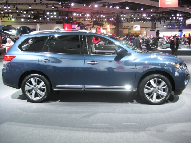 "2013 Nissan Pathfinder - Side. She's a big girl. Good thing you can get a ""Bird's-Eye"" camera system that shows you the outside from all angles."