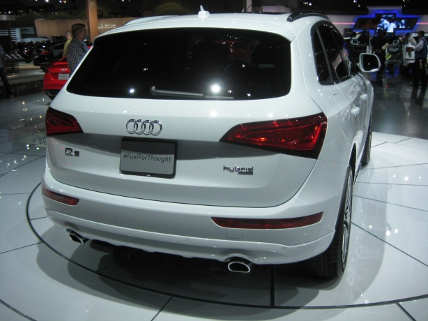 The 2014 Audi Q5 Hybrid. The badge on the back is one of the only ways to distinguish the regular Q5 from this Hybrid.