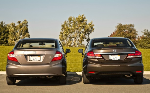 The taillights of the 2013 Civic, on the right, have been extended into the trunk. There is more chrome too. Again, it no longer looks like a 10 year old Camry, it looks more like the 2013 Accord, which is a good thing.