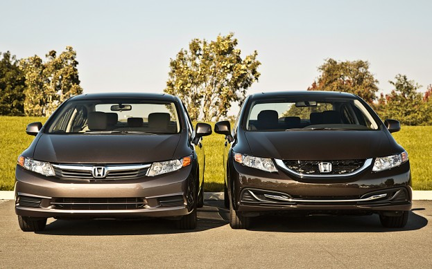 The 2013 Honda Civic is on the right. It certainly has more detail and personality than the 2012 model. It more resembles the new Accord.