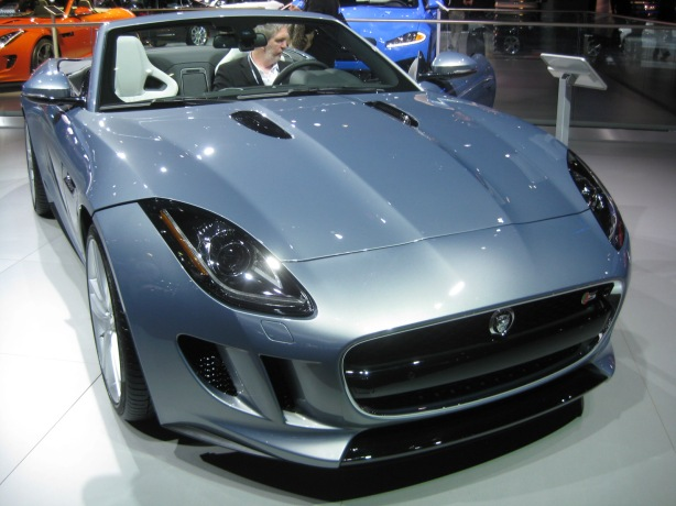 The blue Jaguar 2014 F-Type S has the supercharged 3.0L V6 making 380 hp / 339 lb-ft torque.