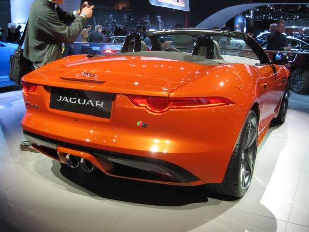 The slim taillights and integrated spoiler of the Jaguar F-Type are sublime.