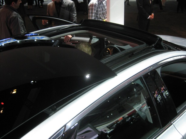 Ford thinks that this optional panoramic sliding glass roof will be a popular defining feature of the MKZ. Except you can get a similar one on the Ford Fusion. It is slick and the black glass is a great contrast with the silver paint.