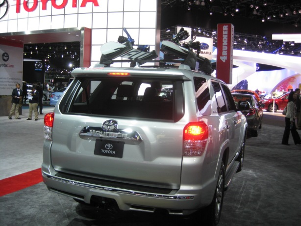 2013 Toyota 4-Runner. I applaud Toyota for keeping the 4-runner with a roll-down rear window. There aren't many of those left. Most SUVs have fixed glass, and a couple have pop-up windows, but the roll-down is best.