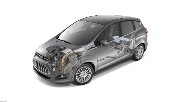A cutaway of the 2013 Ford C-Max Hybrid.
