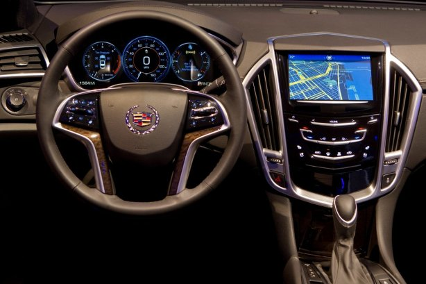 The cock pit of the 2013 Cadillac ATS sports sedan. This one has CUE, Cadillac User Experience, the brand's high-tech infotainment system.