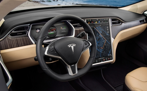 Almost all controls inside the Tesla Model S are accessed on the brilliant 17 inch full-color, fully-internet enabled center touch screen.