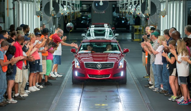 The first 2013 Cadillac ATS rolls off the assembly line. It was a great moment for GM's luxury division.