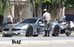 "Justin Bieber's Fisker Karma in chrome. You know, a ""stealth color"" right? Photo: TMZ.com"