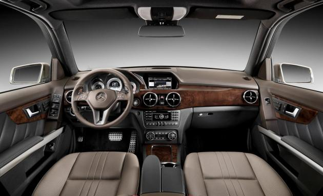 The interior of the 2014 GLK 250 is more driver focused with the re-positioning of the 7 inch navigation screen and the center console mouse-like controller.