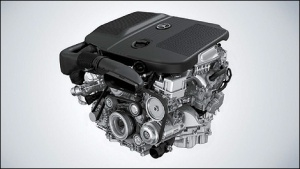The 2.1L Biturbo diesel engine in the 2014 GLK 250 BlueTEC.