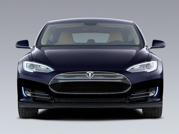 The 2013 Tesla Model S in Blue. Tesla likes to keep the color names simple: Black, White, Silver, Green, Blue, Grey and Brown.