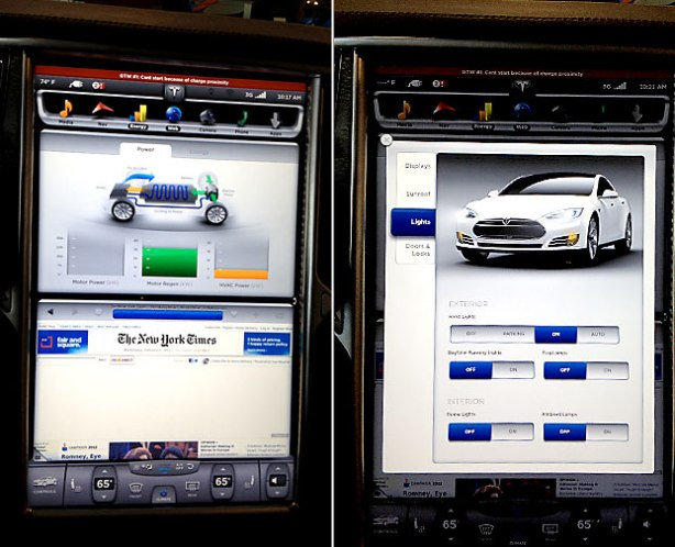 The brilliant, high-definition Tesla 17 inch touch screen is just amazing in person. Like a tablet computer, it's internet-connected and technical service can be rendered online. Updates are downloaded and installed overnight while you sleep!
