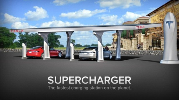 A rendering of a Tesla Supercharger station.