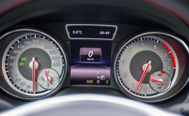 The analog gauges are excellent in the CLA250. They give the car a sporty, premium feel.