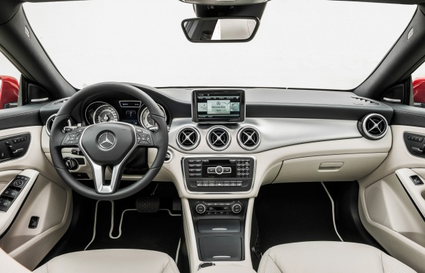 The interior of the 2014 CLA250 has a premium look and transmits many Mercedes-Benz styling cues and common switchgear.