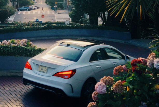 This shot of the 2014 CLA250 on Lombard St in San Francisco shows the $1,480 Panorama Roof.