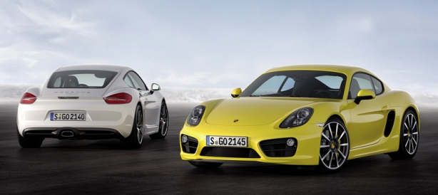 The 2014 Porsche Cayman in white; the Cayman S in yellow.