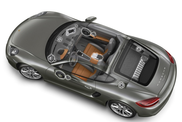 This schematic shows the complexity of the mid-level Bose Surround Sound System which is optional on the Cayman and Cayman S.