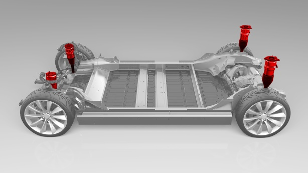 The platform for the Model S with Air Suspension. The battery is the big flat pack shielded by the frame.