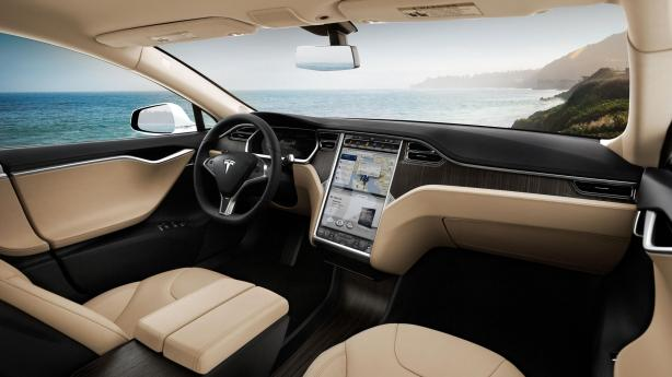 The interior of the Model S is decidedly uncluttered.