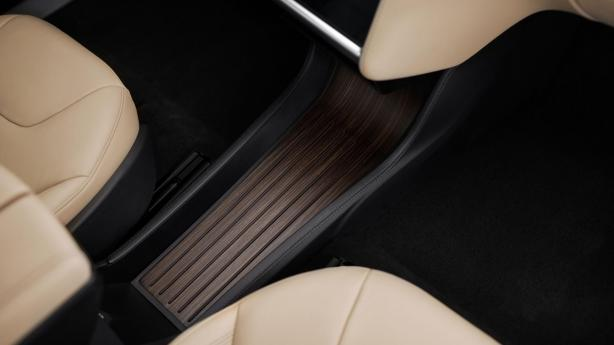 Model S interior detail: Optional console with wood veneer.