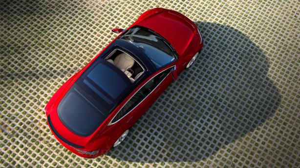 The Model S with the optional glass panoramic sunroof.
