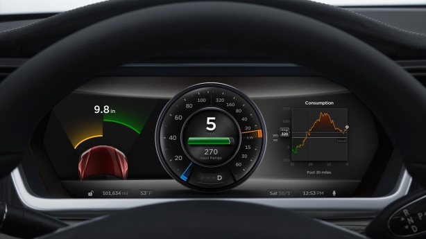 Detail of the instrument panel with the optional parking sensors activated.