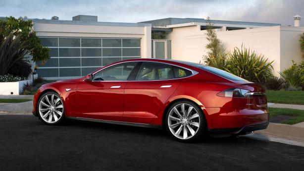 The Tesla Model S with the optional Red Multi-Coat paint.