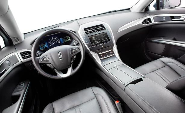 The cockpit of the MKZ Hybrid has a modern, high tech look.