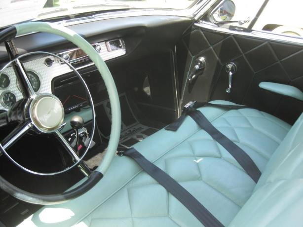 The quilted pattern upholstery inside this Studebaker Hawk was flawless. I don't know if this was an original feature, but it sure looked great.