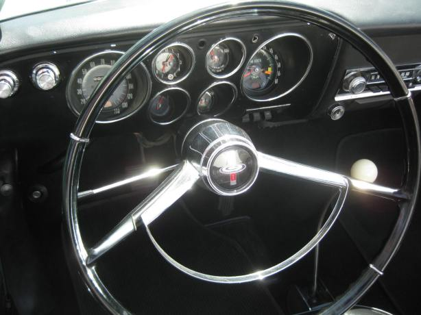 The Corvair interior was simple but well sorted. The thin steering wheel, horn ring and shifter gave the interior a light, airy feeling.
