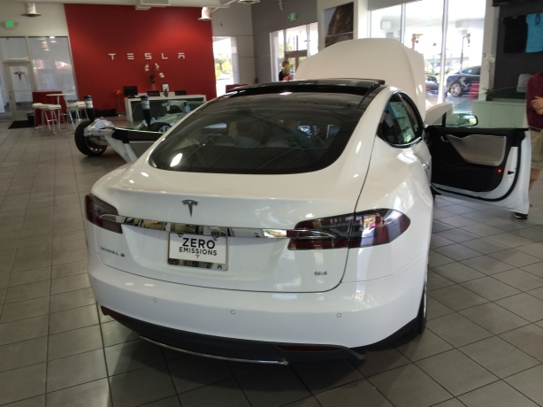 This White Model S had the 85 kWh battery package and a few other options that pushed the sticker price past $91,000. I think this one was available to drive off the lot. It had the sticker on the window!