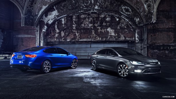 The 2015 Chrysler 200S in Vivid Blue Pearl Coat and on the right, the 200C in Granite Crystal Metallic Clear Coat.  Ready for a close up. Ready for your consideration.