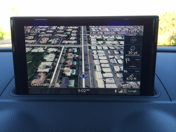 The A3's full-color infotainment screen displays Google Earth beautifully and easily with its built-in 4G LTE connection.