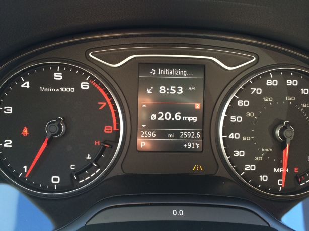 The instruments panel of the A3 is a model of clarity and it looks terrific at night. Note the average MPG readout from the standard multifunction trip computer.