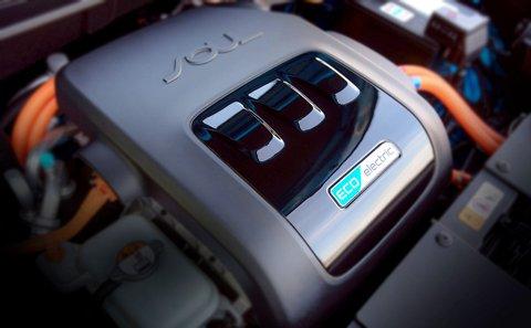 2015 Kia Soul EV's electric motor. It's a front drive unit like the gasoline-powered Soul.